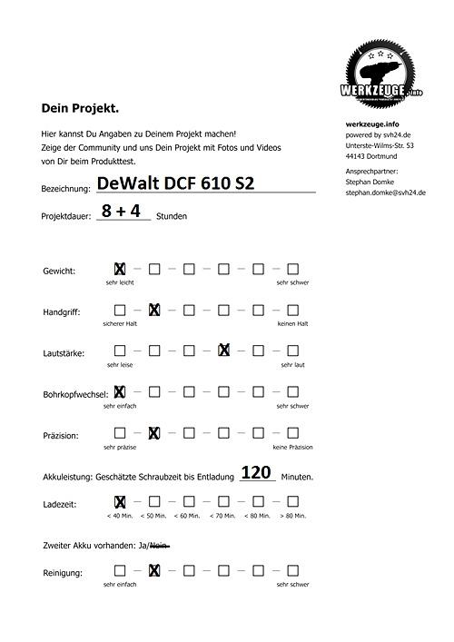 """fragebogen_dewalt_antwort1 """"Beim nächsten Umzug wieder mit dabei!"""" Der DeWalt DCF 610S2 Testbericht."""