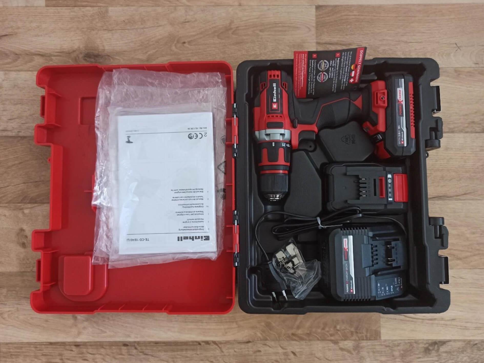 Einhell_Bohrschrauber-Set_TE-CD_18-40_Transportkoffer_geoeffnet_Bohrschrauberfach Produkttest: Einhell Bohrschrauber-Set TE-CD 18/40